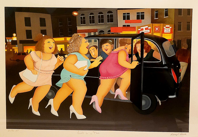 Women-getting-into-taxi-painting