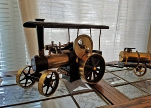 Brass tractor model, estate sale, yorba linda