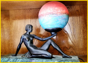 art deco, estate sale, figurine, statue, globe, art
