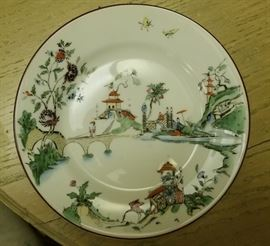 china, plate, asian, hand painted, ceramic, estate sale