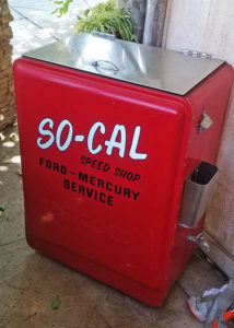 vintage cooler, red, estate sale