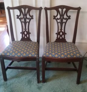 estate sale, pasadena, fine furniture, chippendale chairs