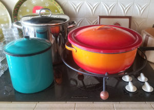 kitchen pots, bright, midcentury, estate sale, claremont