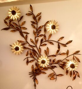 mid century, mcm, lamp, metal flower wall light, estate sale,