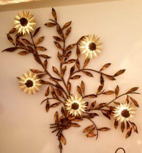 mid century, mcm, lamp, metal flower wall light, estate sale,