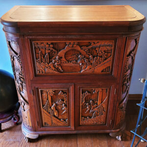Carved chest, asian, furniture, estate sale, claremont