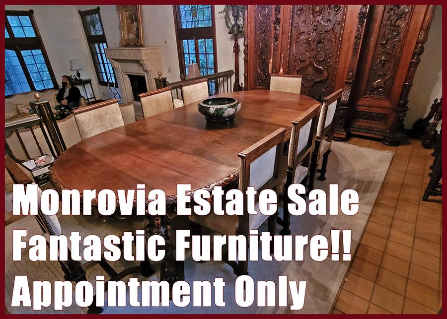 Monrovia, estate sale, decorative furniture