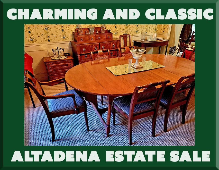 altadena, estate sale, antiques